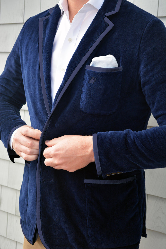 Men's Navy & Navy Trim Toweling Blazer