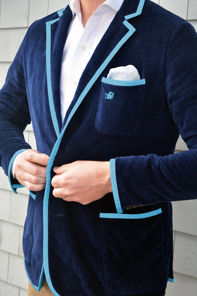 Men's Navy & Capri Blue Toweling Blazer