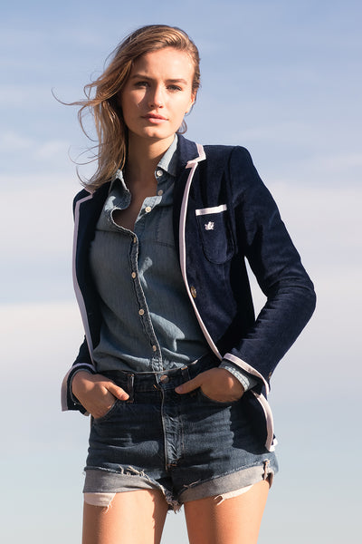 Women's Navy & White Terry Cloth Toweling Blazer