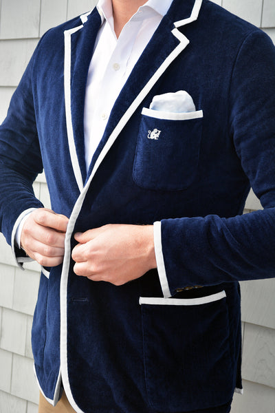 Men's Navy Terry Cloth Toweling Blazer (available in 4 trim color options)