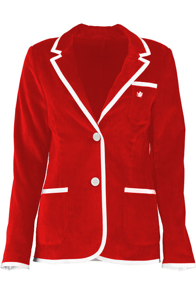 Women's Red & White Toweling Blazer