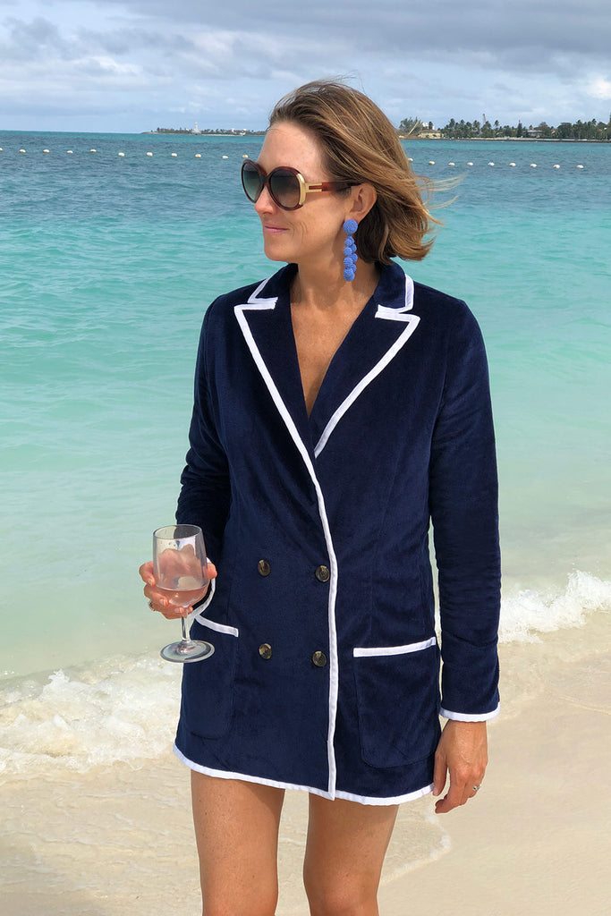 The Siren Double Breasted Blazer / Mini-dress in Navy with White Trim - Pre-order Only!