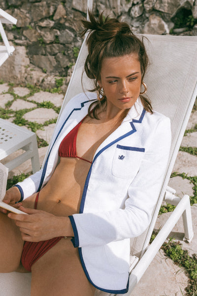 Women's White & Navy Toweling Blazer