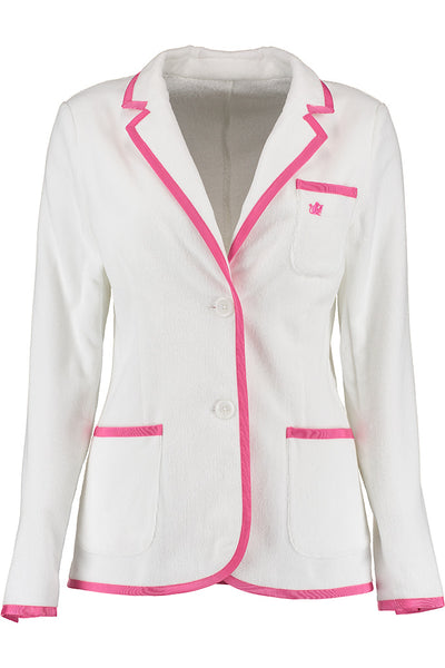 Women's White & Pink Toweling Blazer