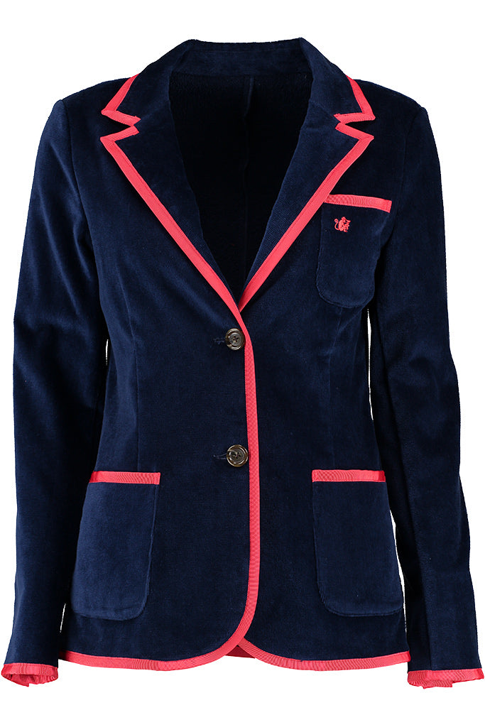 Women's Navy & Red Terry Cloth Toweling Blazer