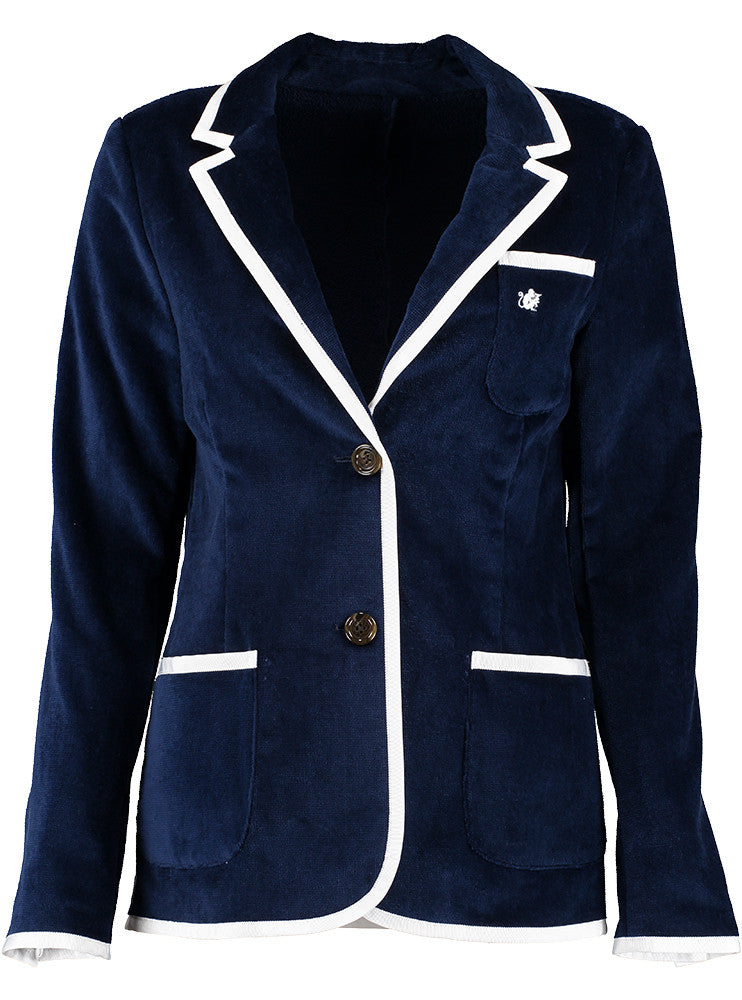 Women's Navy Terry Cloth Toweling Blazer (available in 5 trims)