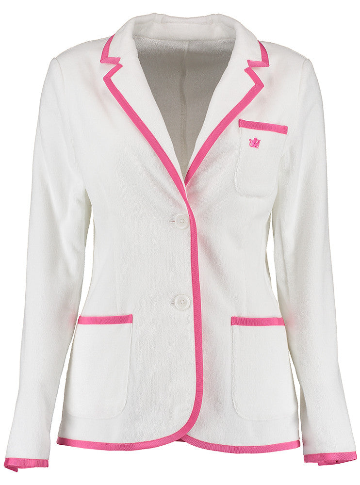Girls White Terry Cloth Toweling Blazer (available in 2 trim color options)