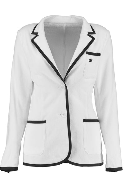 The Domino: Women's White & Black Trim Toweling Blazer