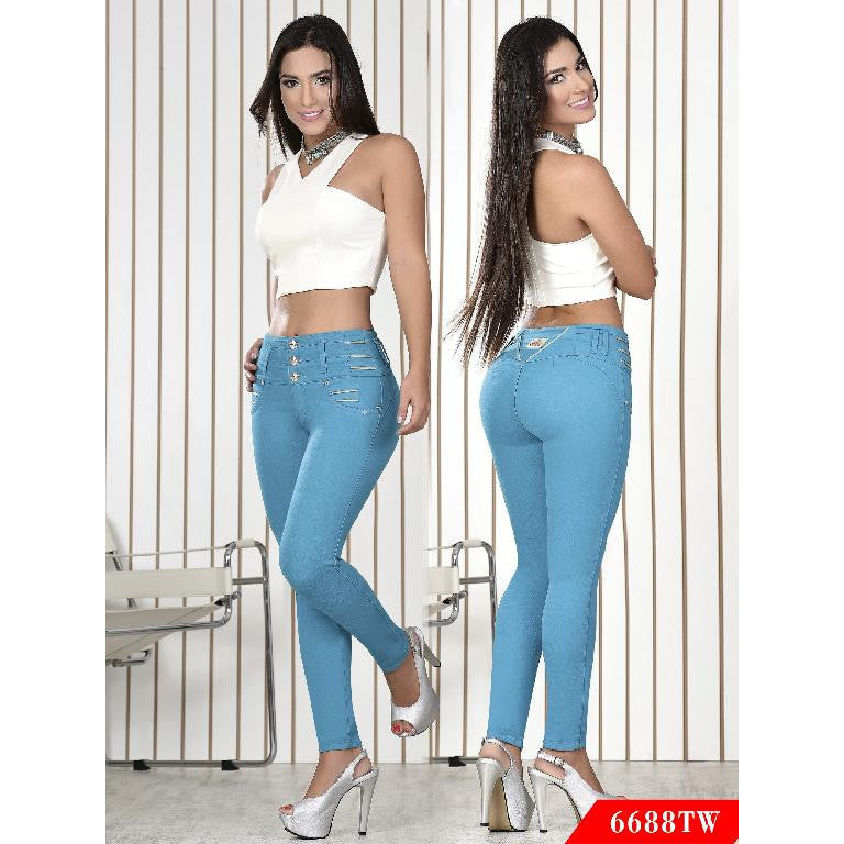 Butt Lift Colombian Jeans Top Women  Ref. 123 -6688TW  size 3 USA 8 COL - awesome jeans colombia