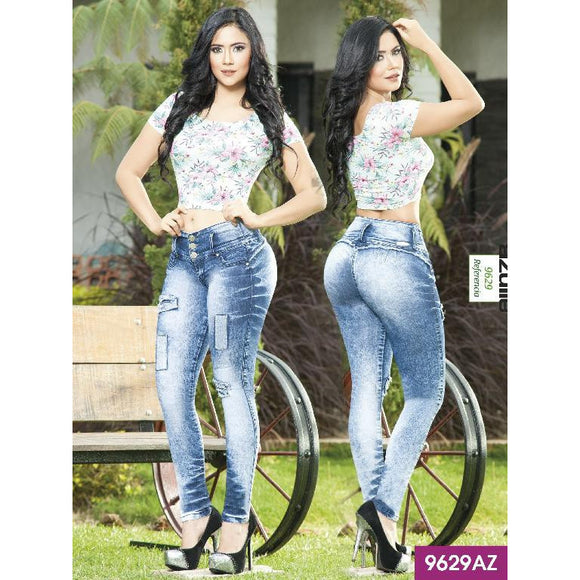 Jeans Levantacola Colombiano Azulle  Ref. 232 -9629-AZ SIZE 5 USA 10 COL - awesome jeans colombia