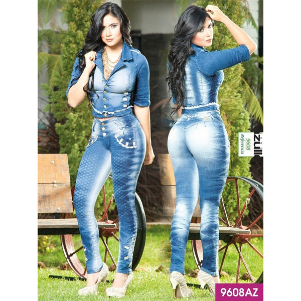 Conjunto Levantacola Colombiano Azulle  SIZE 7 USA 12 COL - awesome jeans colombia