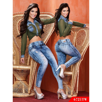 Butt Lift Colombian Jeans Top Women  Ref. 123 -6721TW SIZE 9 USA 14 COL - awesome jeans colombia