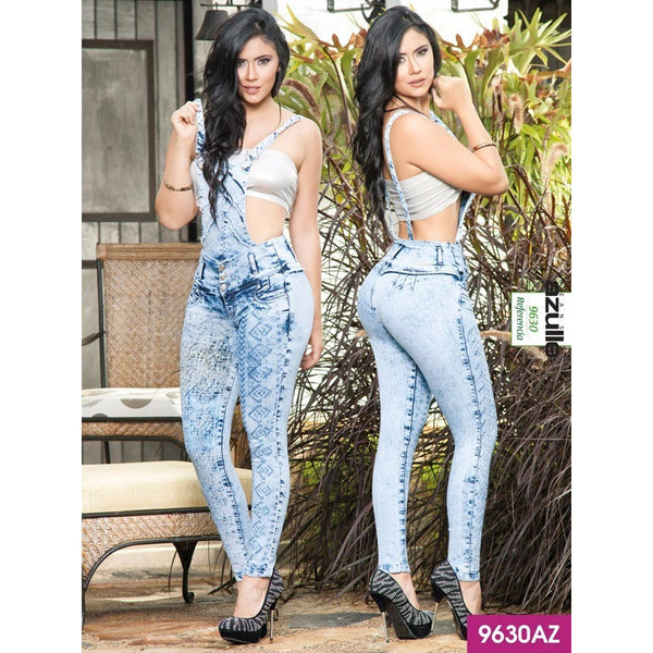 Enterizo Cargadera Levantacola Colombiano Azulle  Ref. 232 -9630AZ SIZE 3 USA 8 COL - awesome jeans colombia