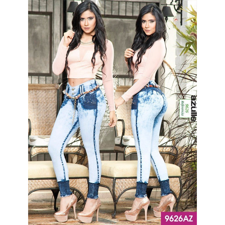 Jeans Levantacola Colombiano Azulle  Ref. 232 -9626AZ SIZE 5 USA 10 COL - awesome jeans colombia