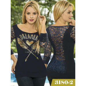 Blusa Moda Colombiana Thaxx  Ref. 107 -3180-2 Azul ONE SIZE TALLA UNICA - awesome jeans colombia