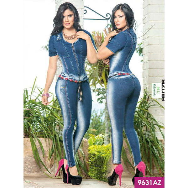 Enterizo Levantacola Colombiano Azulle  Ref. 232 -9631AZ SIZE 5 USA 10 COL NEWLY ARRIVED - awesome jeans colombia