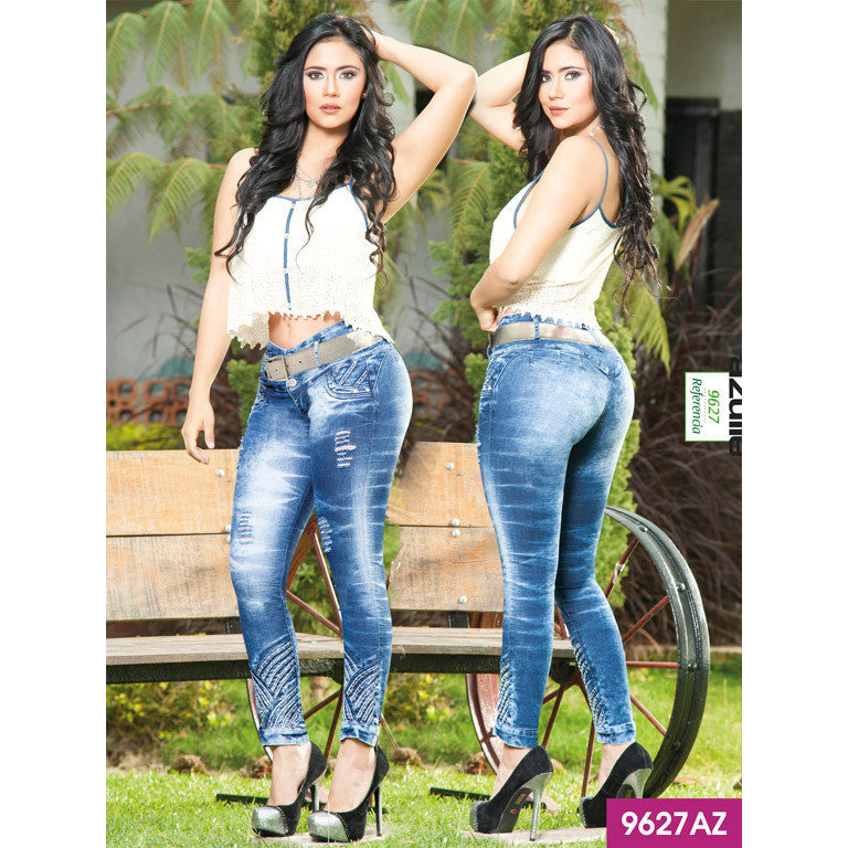 Jeans Levantacola Colombiano Azulle  Ref. 232 -9627AZ SIZE 5 USA 10 COL - awesome jeans colombia