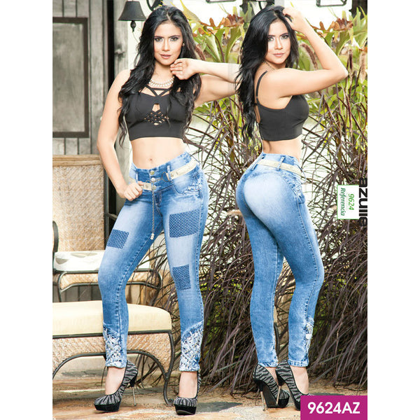 Jeans Levantacola Colombiano Azulle  Ref. 232 -9624-AZ SIZE 5 USA 10 COL - awesome jeans colombia