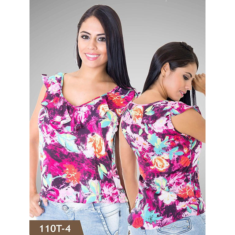 Blusas Moda Tabbachi  Ref. 236 -110T-4 Morado con flores SIZE LARGE - awesome jeans colombia