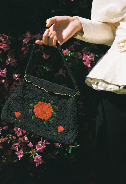 Black Beaded Roses Purse