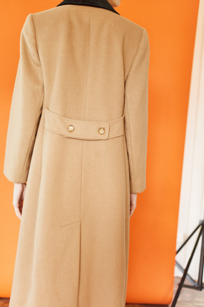 Contrast Collar Coat