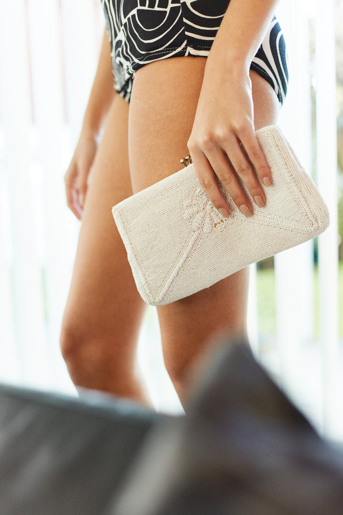 Ivory Beaded Clutch