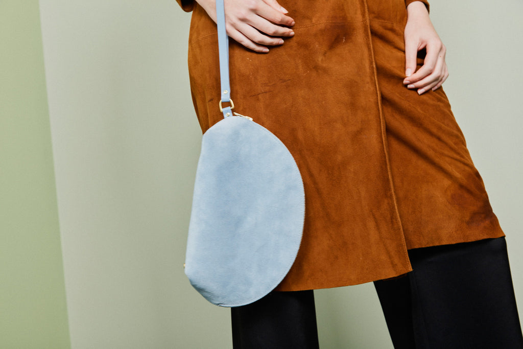Taco Clutch / Baby Blue Suede