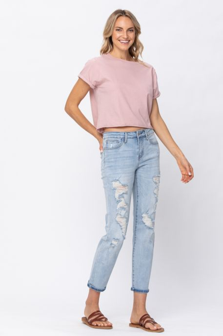 JB Light Wash Distressed Boyfriend Jeans