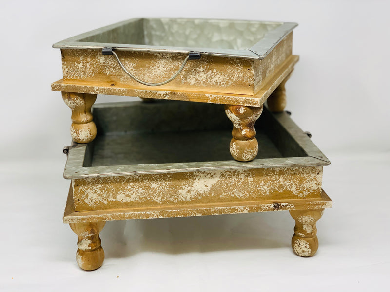 Footed Metal Trays