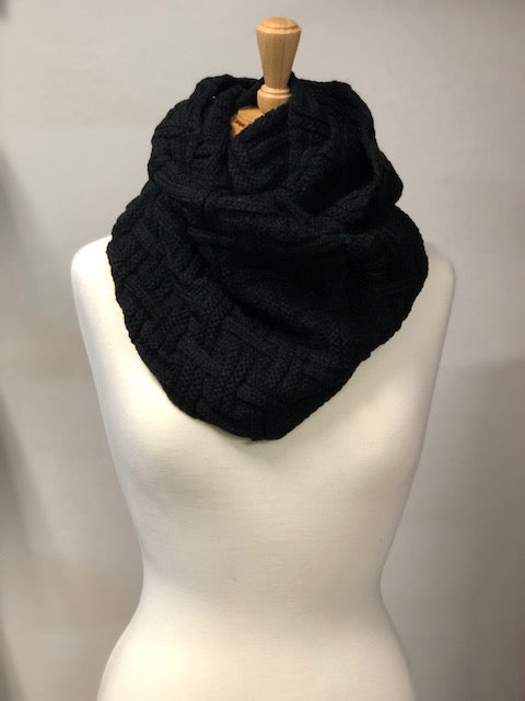 Knit Infinity Scarf- Black