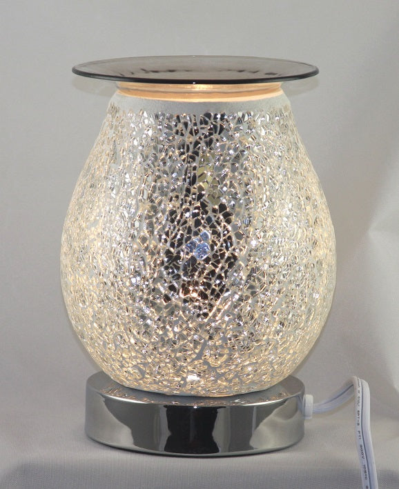Crackle Glass White Warmer