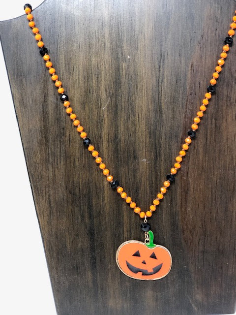 Pumpkin Face Necklace