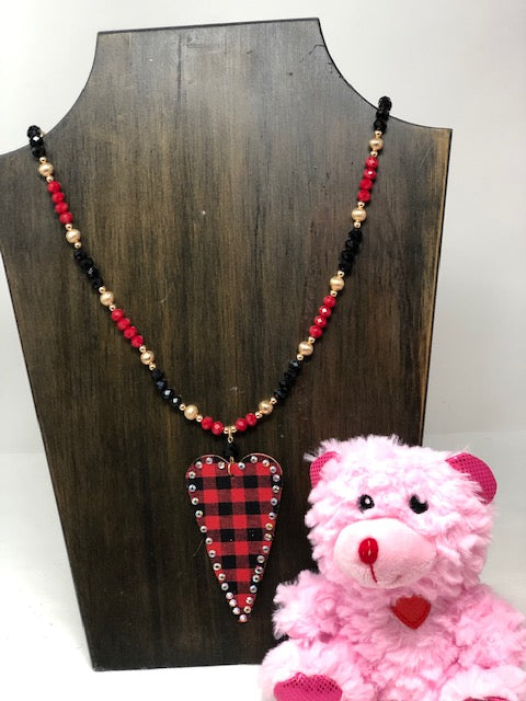 Valentine Red/Black Buffalo Necklace