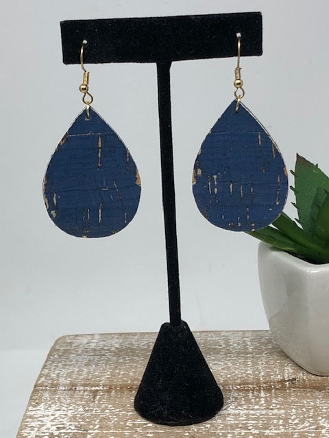 Small Teardrop Earrings-Cork