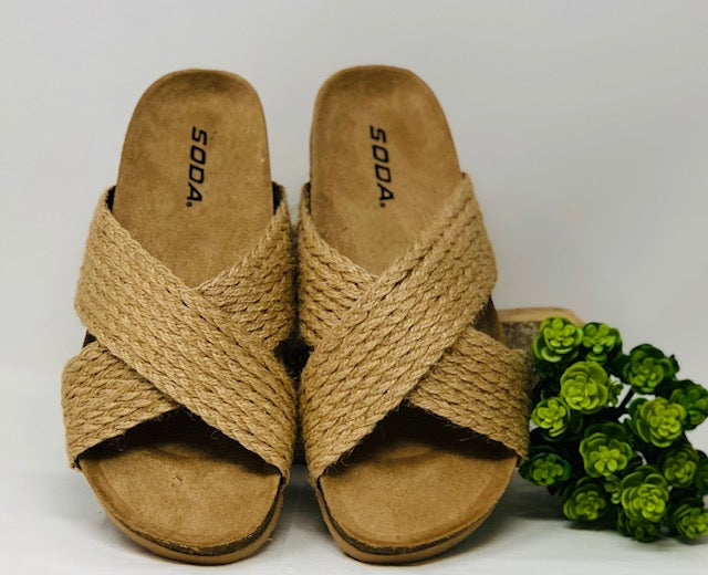 Natural Criss Cross Sandal by Soda