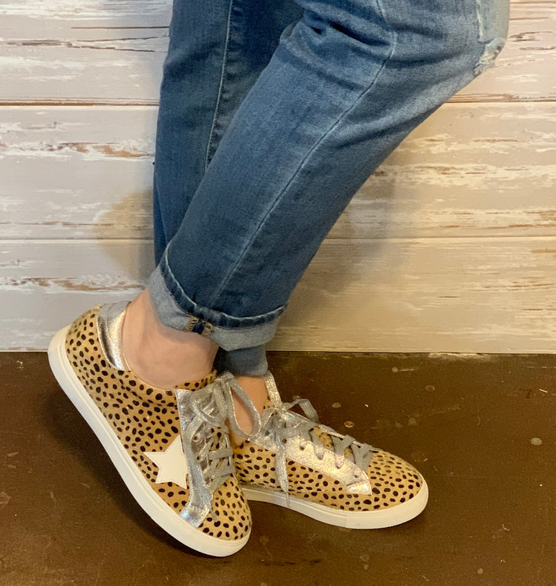 Cheetah & Silver Lace Up Shoe