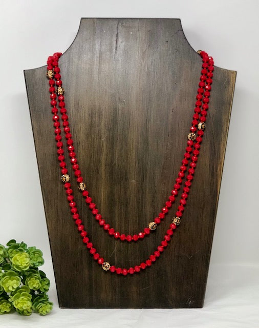 "60""Bev. Beads w/Cryt. Leopard Beads"