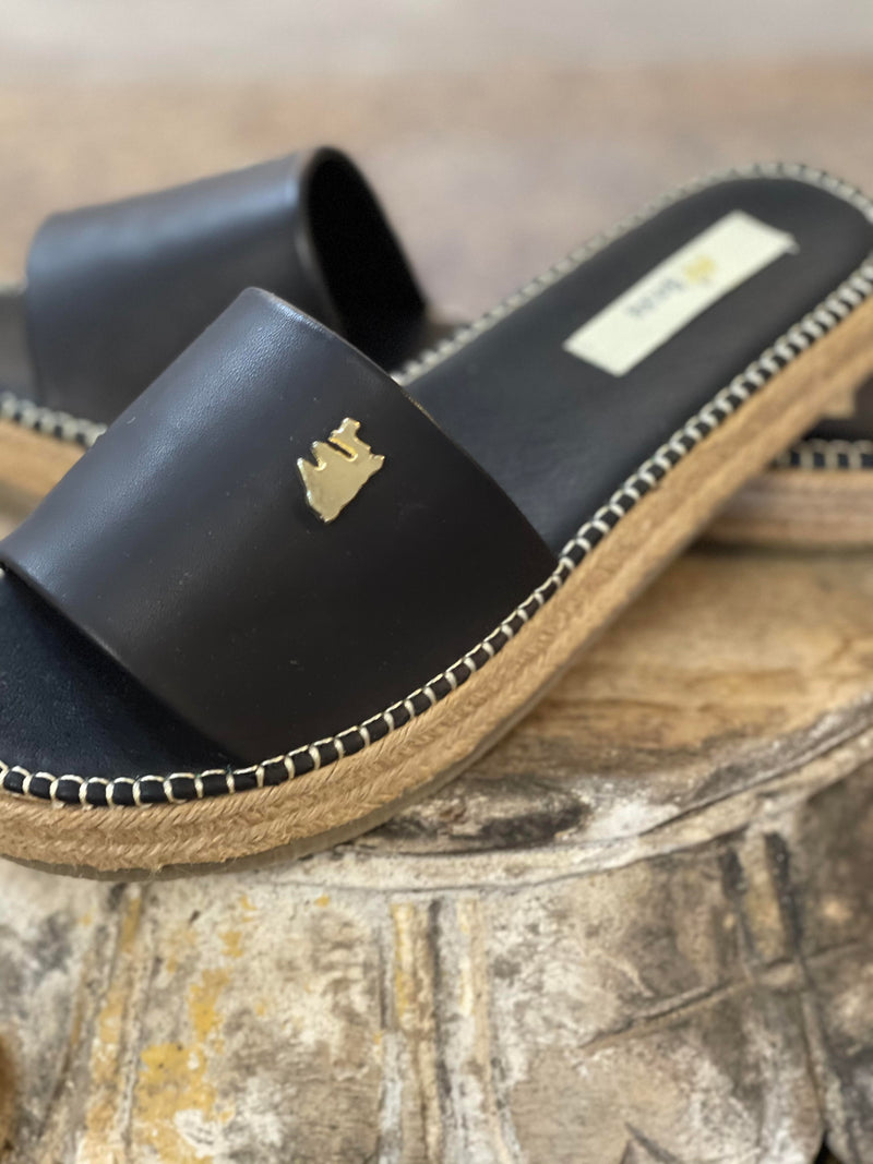 Faux Leather Black Slide Shoe