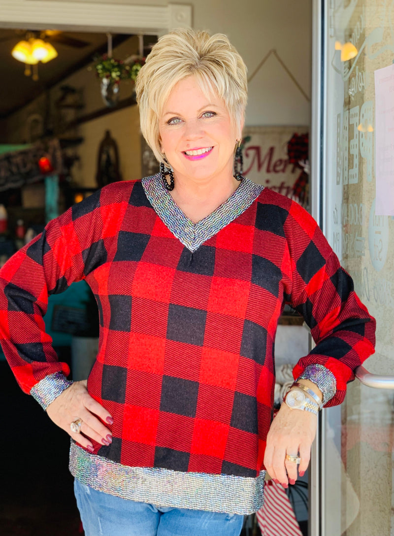 Sassy Black/Red Buffalo Top
