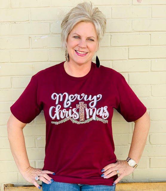 Maroon Merry Christmas with Garland Tee