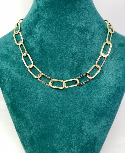 Hammered Linked Gold Chain
