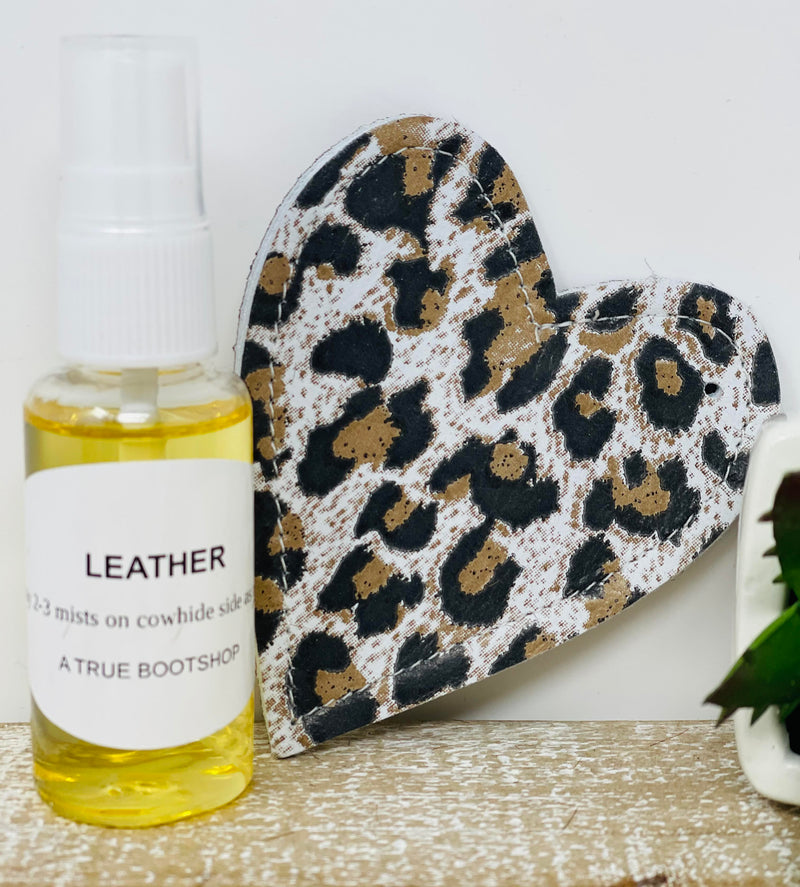 Leather/Cowhide Freshener Charm-White Leopard