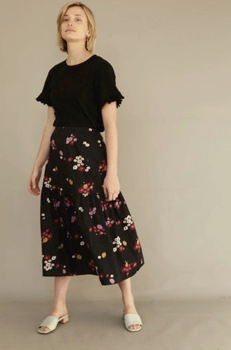 """Liberty"" Black Floral Midi Skirt"