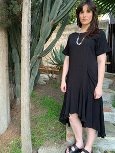 Black Linen Tie Back Midi Dress