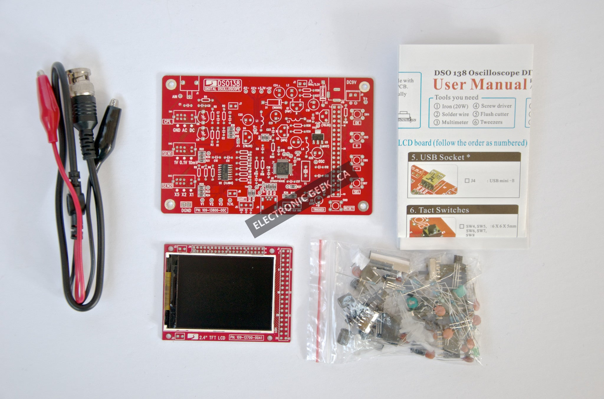 DSO138 2 4in TFT Digital Oscilloscope Kit DIY Parts Electronic Learning Set