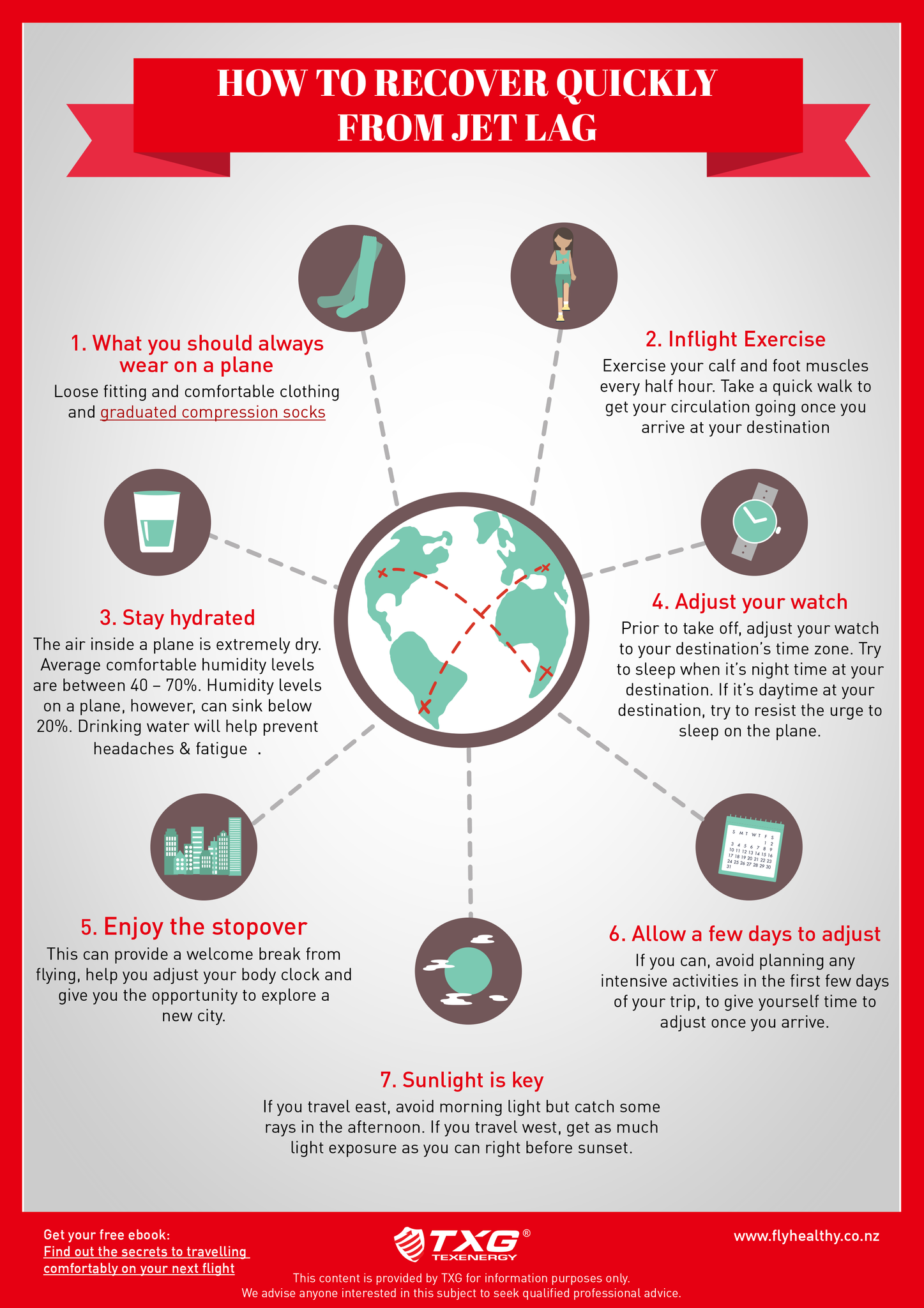 How to recover quickly from jet lag infographic from fly healthy with txg