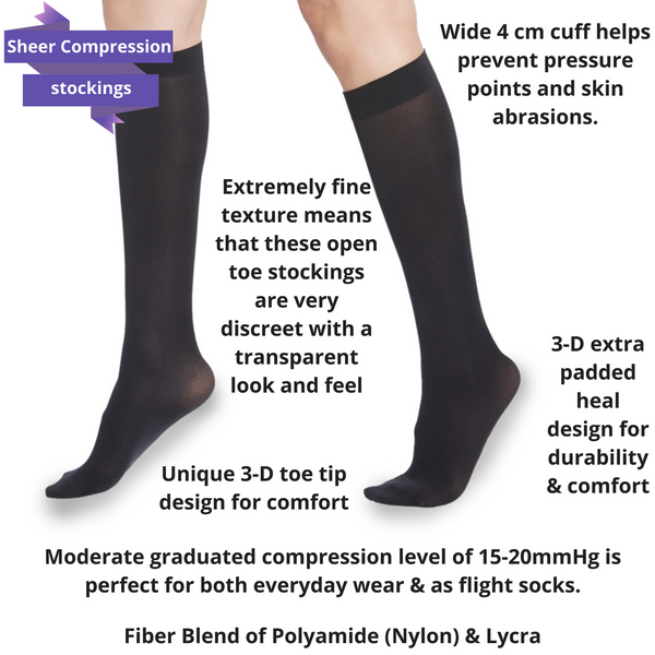 Sheer Knee High Compression Stockings