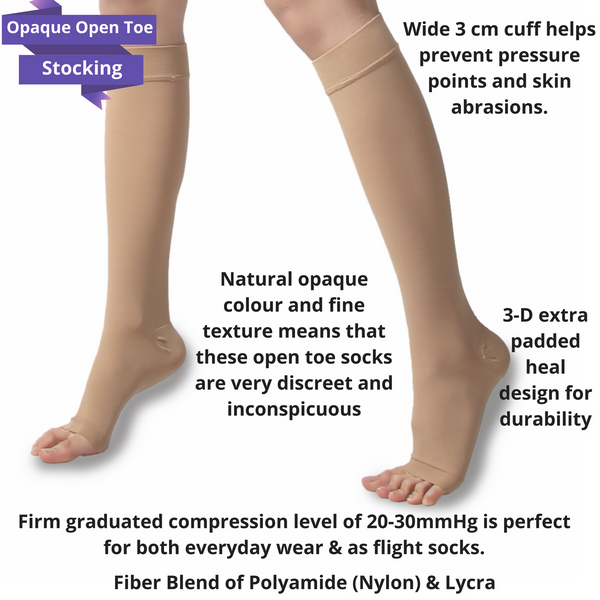 Opaque open Toe Compression Stockings
