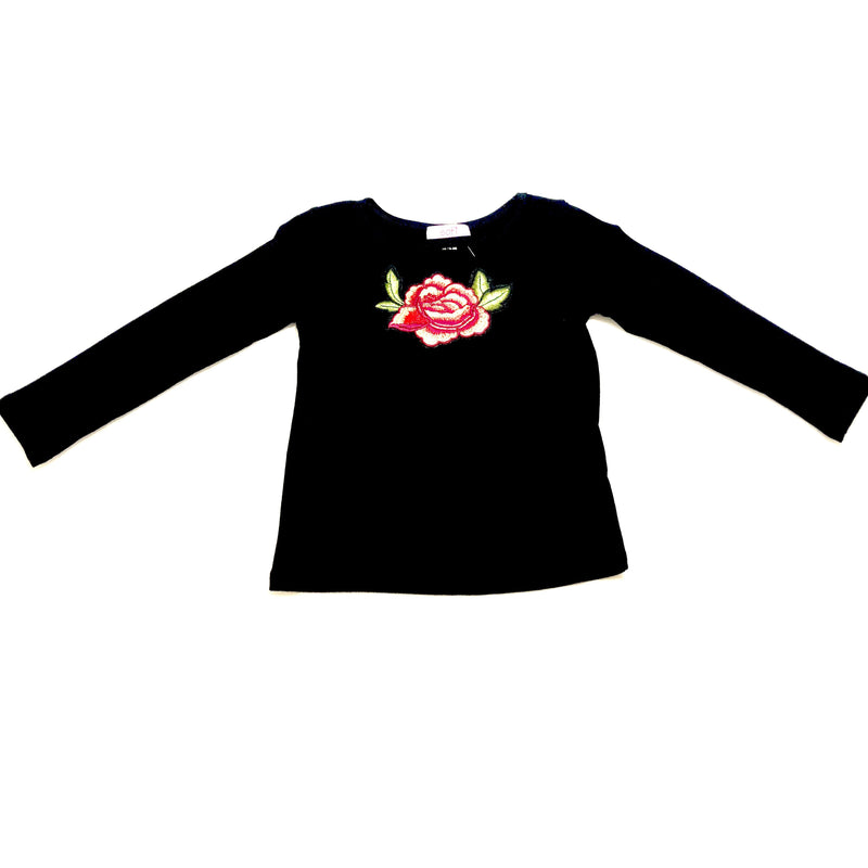 Sofi toddler cut neck top black w/rose
