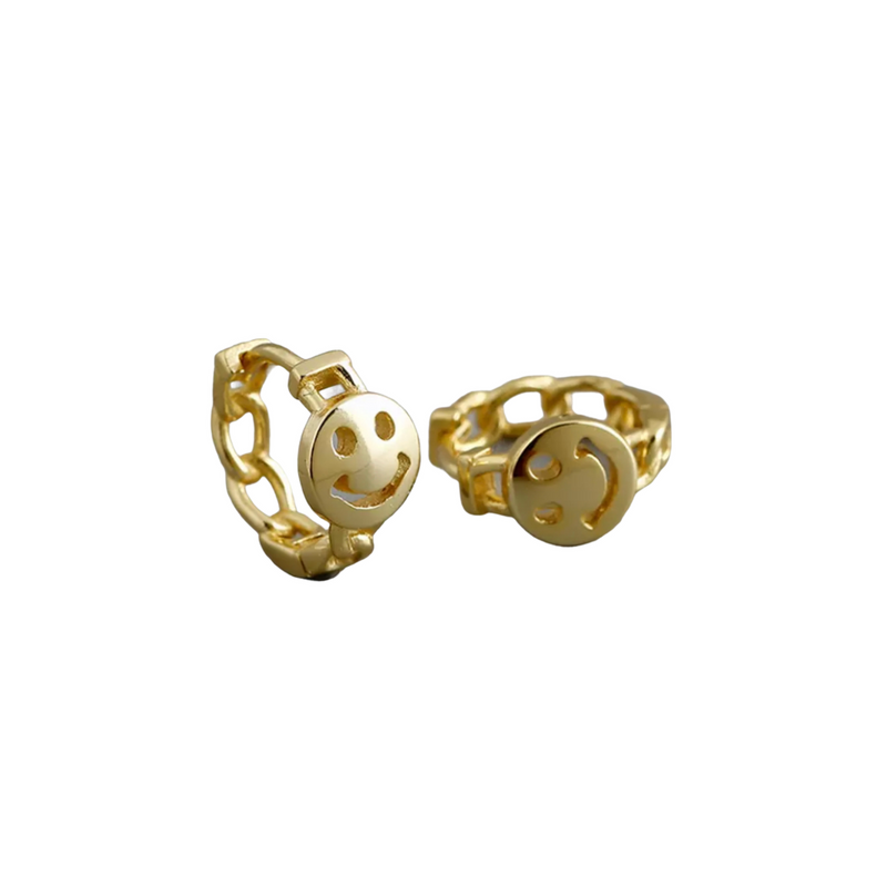 Chain Link With Smiley Face Gold Earrings-Pair